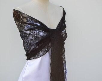 Clearance 30% black Calais lace Black Lace Gothic scarf shawl black shawl