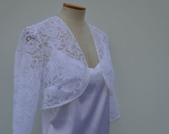 Clearance 30% white Bolero, lace shoulder warmer, lace wedding bolero