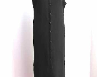 The Limited Long Black Sleeveless Button Front Women's Knit Shift Dress Size S