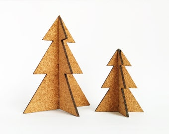 2 Christmas tree decorations, Cork christmas ornaments, 3D Tree decoration, Cork ornaments, Modern Christmas tree decor, Holiday, Set of 2