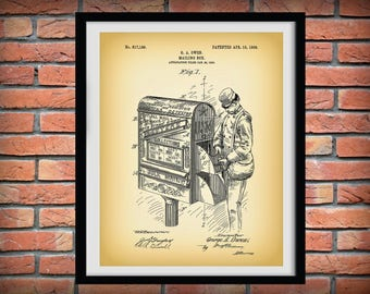 1906 Mailbox Patent Print - Print Poster - Home Decor Wall Art - Mail Carrier - Mailman - Postal Mail Carrier - Post Office - US Mail