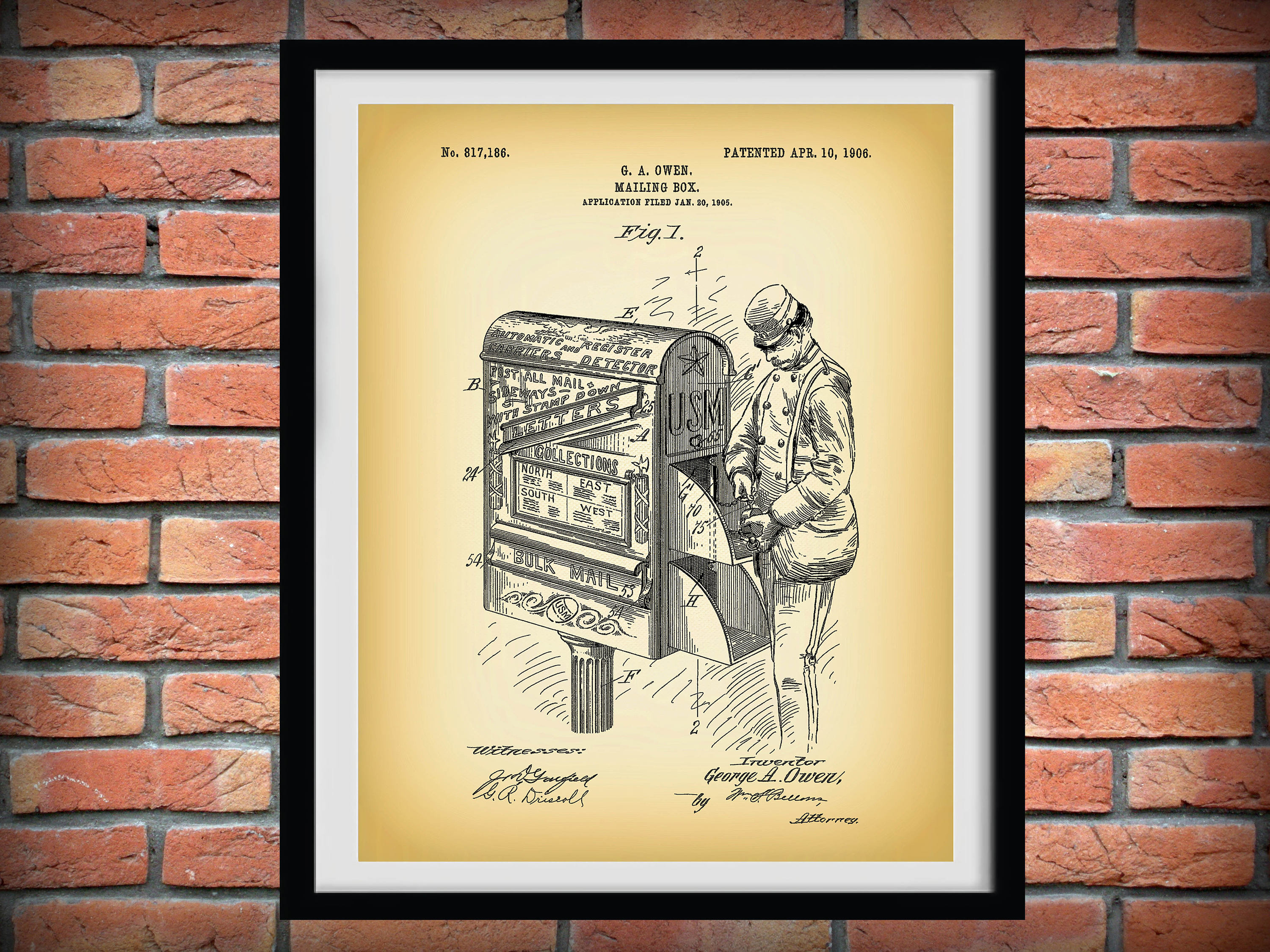 1906 Mailbox Patent Print Print Poster Home Decor Wall Art