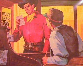 1958 Wells Fargo Cowboy Matted Vintage Print