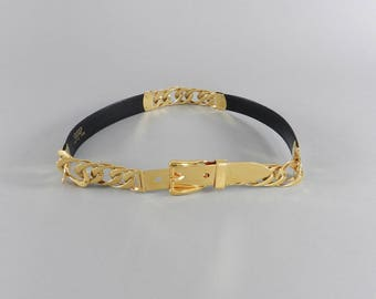 Vintage 1980's Gucci Black and Gold Chain Belt