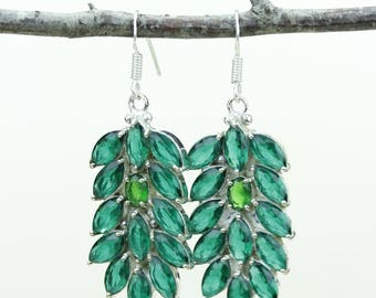 Green Emerald Peridot 925 SOLID (Nickel Free) Sterling Silver Italian Made Dangle Earrings e663