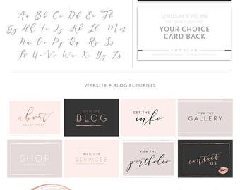Premade Branding Kit, Photography Logo Set, Watermark, Handwritten initials, Rose Gold Initials Signature, Gold Logo Design, Stamp Logo 077