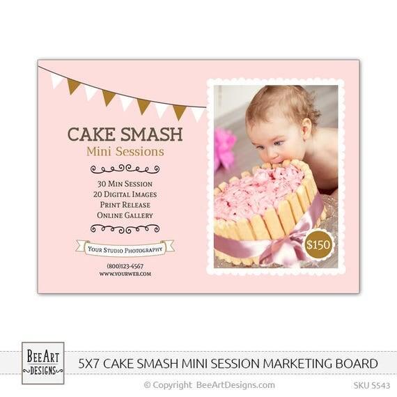 5 x 7 pastel Smash plantilla torta Smash sesión plantilla
