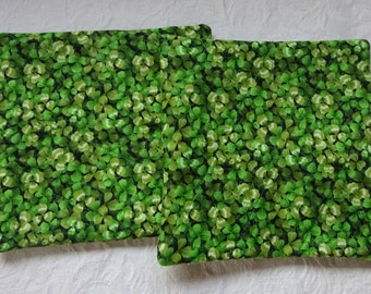 Shamrock Potholder Set, Fabric Potholders, Quilted Potholders, Two Shamrock Potholders, Potholder Set, St Patrick's Day, Green Potholders