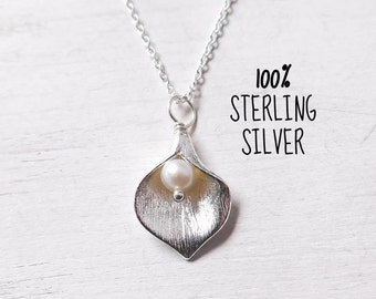 Calla Lily Necklace, All Sterling Silver, Gift for Wife, Gift for Mother, Sister, Friend, Calla Lily Jewelry, 100% Sterling Silver, Small