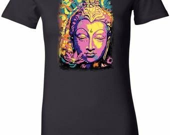 Yoga Clothing For You Psychedelic Buddha Womens Longer Length Tee T-Shirt = 6004-PSYCHBUD