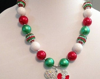 Minnie Mouse inspired Christmas Holiday Chunky Bubble Bead Necklace