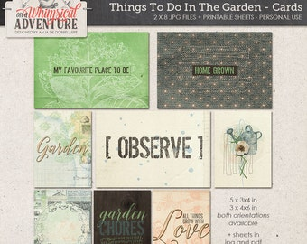 Garden nature outdoors digital download journal cards, printable collage sheet pocket cards, mixed media, paint vintage ephemera, botanical