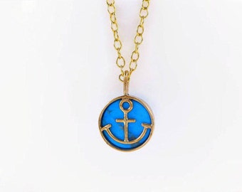 ocean gold necklace, 14k gold nautical jewelry, gold anchor pendant necklace, turquoise necklace, summer gold necklace, anchor necklace