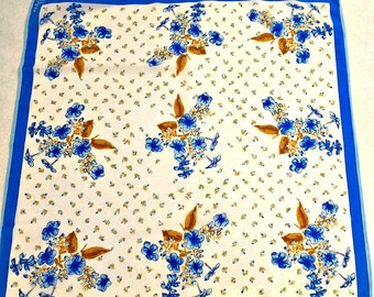 Vintage Vera Neumann Floral Scarf Spring Colors Made in Japan Polyester Women's Gift Blue and White