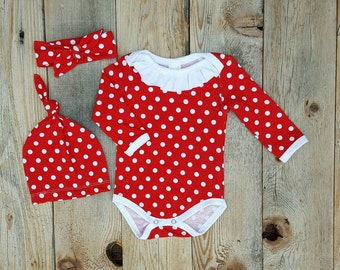 Sale Polkadot Ruffle Girls Onesie with Hat Headband Choice Red and White Made in Usa Bodysuit Baby Girls Apparel Cheerful Ivy