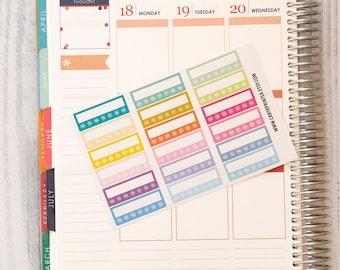 18 blank stickers, weekly habbit bar sticker, box stickers, blank label, planner stickers, scrapbook reminder happy planner sticker