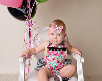 Baby Girl Romper, Watermelon romper and head wrap set, black and white stripes, watermelon outfit, girls summer outfit