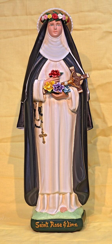 "St. Rose of Lima 18"" Catholic Christian Saints Plaster Religious Statue"