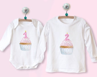 Birthday Baby Toddler Outfit 1st 2nd 3rd 4th 5th Birthdays LONG SLEEVE T-shirt top or babygrow with printed CUPCAKE