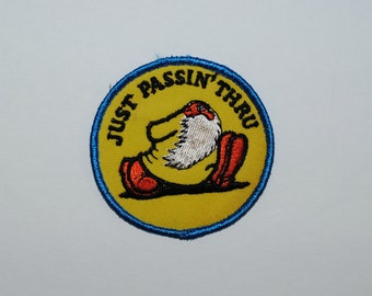 "Vintage Robert Crumb ""Just Passin' Thru"" Patch, 1970's Mr Natural Round Patch, Collectible Patch"