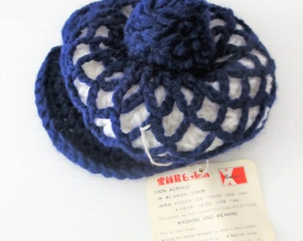 Vintage Navy Blue Knit Winter Cap / Baby Size 6-9 Months Retro NWT Acrylic Brimmed Baby Cap
