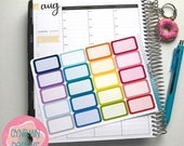 Rounded Half Box Stickers - Colourful Brights | Sheet of 20 | Erin Condren Vertical Hourly Life Planner Stickers
