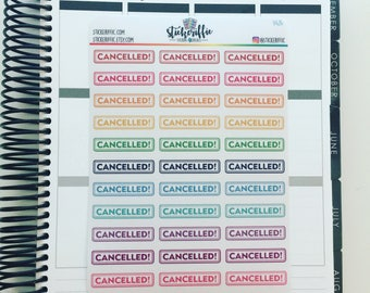 Clear / Transparent Cancelled Stickers Rainbow - C424
