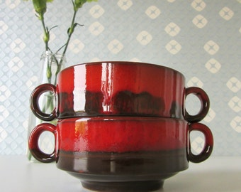 Two Vintage Little Soup Bowls Dark Brown with Red Glaze 1970s 16269