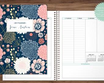 2017 planner custom 2017 2018 planner student planner VERTICAL LAYOUT weekly monthly calendar agenda / navy pink gold flower pattern