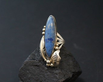 Long Sterling Silver and Denim Lapis Native American Navajo Statement Ring