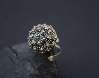 Sterling Silver Balinese Textured Dome Ring, Balinese Jewelry, Textured Sterling Ring, Sterling Silver Dome Ring, Unique Silver Jewelry