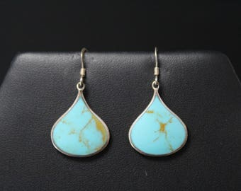 Modern Sterling Turquoise Dangle Earrings, Modernist Turquoise Jewelry, Turquoise Dangle Earrings, Teardrop Turquoise Earrings