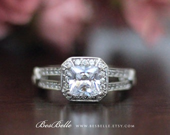 1.52 ct.tw Halo Double Band Antique Engagement Ring-Cushion Cut Diamond Simulant-Bridal Ring-Anniversary Ring-Solid Sterling Silver [3716-1]