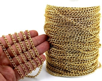10 meters ( 33 Feet ) 5x9 mm Aluminium Chain, Wire Thickness : 1 mm, Gold Tone Color