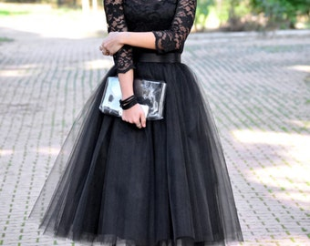 Tea Length Black Tulle Skirt/ Party Skirt/ Wedding Skirt/ Quality Tulle Skirt