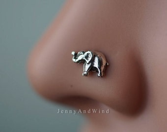 nose ring nose stud nose piercing sterling silver tiny baby elephant animal boho bohemian jewelry 20g ~2E02