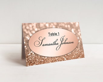 Elegant Wedding Place Cards Template Rose Gold Escort Cards Printable Tented or Flat Cards Table Decor Glitter And Black Editable Template