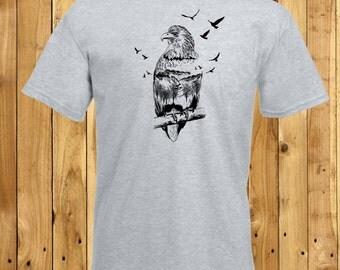 Mens Eagle T-Shirt, Mountain Eagle Shirt, Bald Eagle Tee, Mountain Scene Tshirt, Eagle Lover Gift, Mountain Lover, Husband Boyfriend Gift
