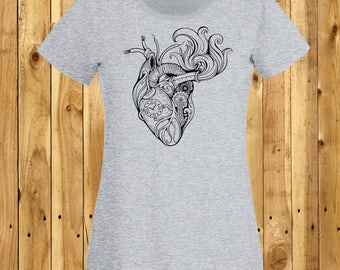 Steampunk Heart T-Shirt, Steam Punk Tshirt, Anatomical Heart Shirt, Clockwork Heart Tee, Steampunk Lover Gift, Gifts For Girls, Anatomy Top