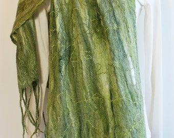 Olive Cobweb Felt Scarf,Wet Felt Scarf,Wet Felted Wool Shawl,Felted Wool Scarf,Nuno Felted Scarf,Felted Wrap,Felted Scarf,Cobweb Scarf Wrap