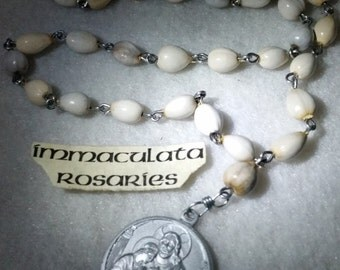 Blessed Sacrament chaplet, hand made traditional aluminum medal, Job's tears, natural seed pods. prayer beads