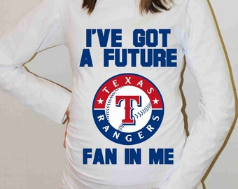Texas Rangers Shirt Texas Rangers Baseball Long Sleeve Maternity Shirt Pregnancy Baby Shower