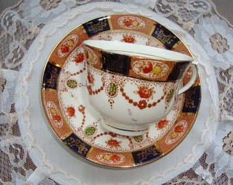 Colclough Bone China Made in England - Vintage Tea Cup and Saucer - Rust and Cobalt Border, Swags and Flowers