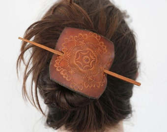 70s Leather & Chopstick Hairpin