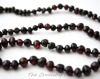 Adult Polished Dark Cherry Baltic Amber Diffuser Necklace