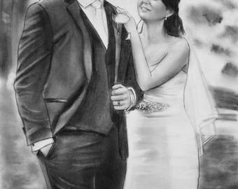 custom gifts for women, personalized engagement gift for couple, 1st paper anniversary gift, couple portrait art