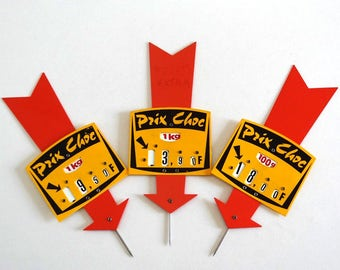 3 French Mid Century Price Tags - Vintage 1960s Grocery Tags, Butcher Tags, Market Pricing - 2