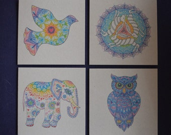 Animal Mandala Greetings Cards pack of 4 printed on 100% recycled card with recycled envelopes 120mm square