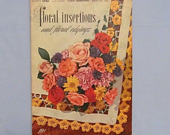 Crochet Pattern Booklet 'Floral Insertions and Edgings', Pansies, Daisies, Roses, 1949