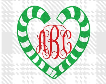 Candy cane svg with  monogram Christmas svg files for use with Silhouette Studio and Cricut Design Space.